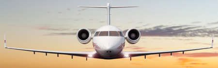 Front shot of a private jet flying with nice sky