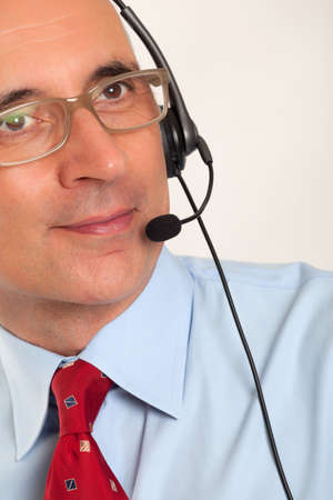 Close up of a man wearing a headset Stock Photo