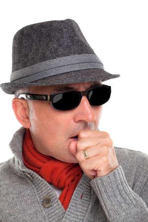impaired: Elegant man coughing Stock Photo