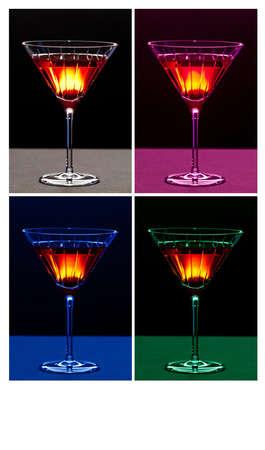 Colorful cocktails in martini glasses Reklamní fotografie