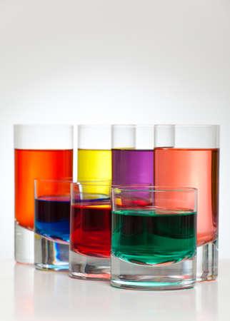 back lit: Beautiful colorful drinks back lit