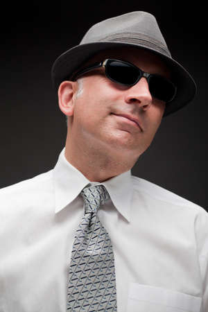 graying: Portrait of a handsome man in sunglasses