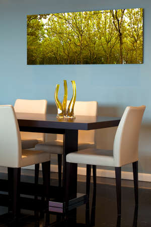 dining table and chairs: Contemporary dining room detail Stock Photo