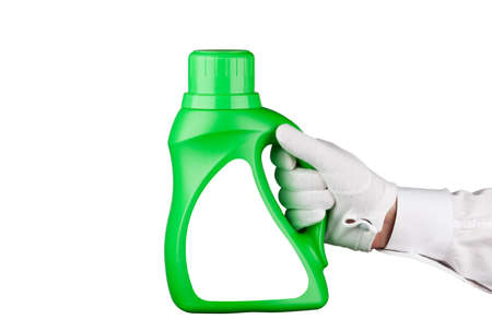 servant: Servant holding a bottle of detergent Stock Photo