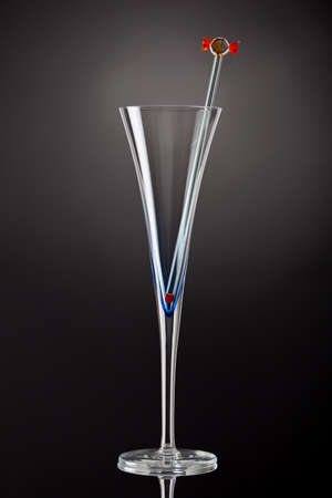stirrer: Single champagne flute with a glass stirrer