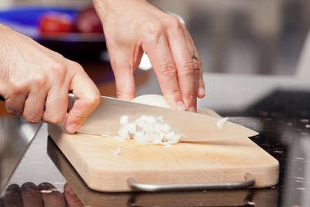 How to chop onions Banco de Imagens
