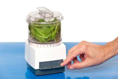 food processor: Hand using a food processor