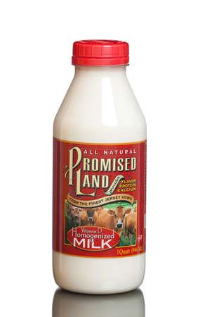 promised: MIAMI, USA - JULY 31, 2015: A bottle of 1 quart Promised Land Homogenized Whole White Milk.