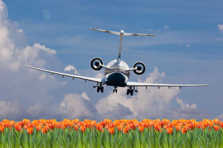 Rear view of a private jet landing 版權商用圖片