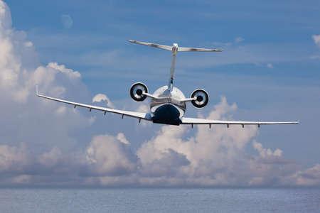 Rear view of a private jet landing Archivio Fotografico