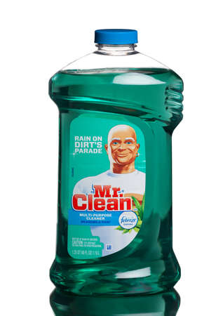 mr: MIAMI, USA - AUGUST 18, 2015: A bottle of Mr. Clean Multi-Surfaces Liquid Cleaner wFebreze MeadowsRain Scent, 40oz. Editorial