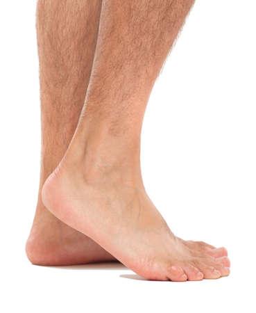 feet naked: Close up of a mans feet
