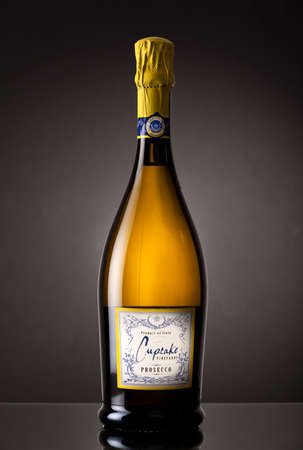 MIAMI, USA - October 22, 2015: Bottle of Cupcake Vineyards Prosecco. Glera grapes  the official grape of Prosecco  from vineyards in the Veneto and Friuli regions of Italy.