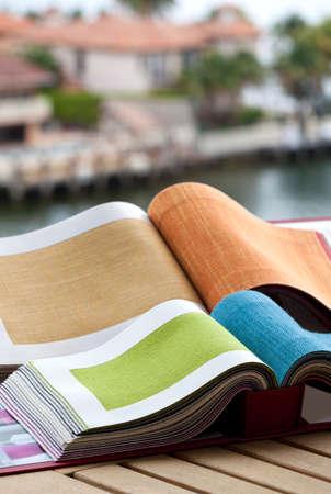 Upholstery fabric samples Archivio Fotografico