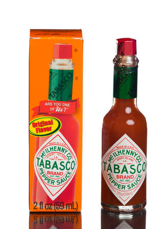 tabasco: MIAMI, USA - August 31, 2015: Bottle of Tabasco hot sauce. Tabasco sauce was started in 1868 and is made from tabasco peppers.
