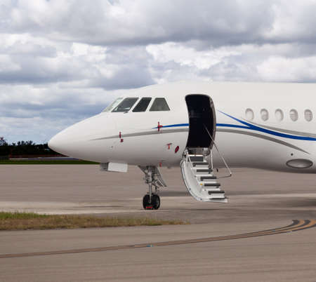 Close view of the front of a private jet Redakční
