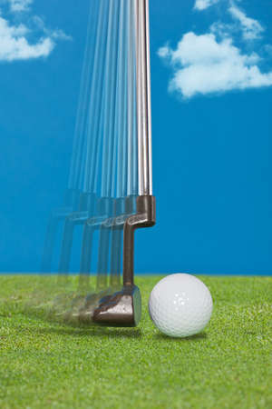 cropped shots: Close up of a golfers putter Stock Photo