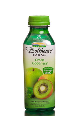 goodness: MIAMI, USA - August 31, 2015: A bottle of Bolthouse Farms Green Goodness. 100 juice smoothie. Editorial