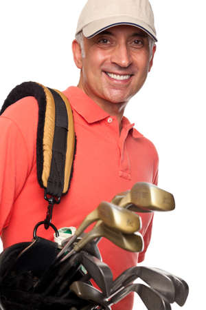 follow through: Male golfer carrying his bag Stock Photo