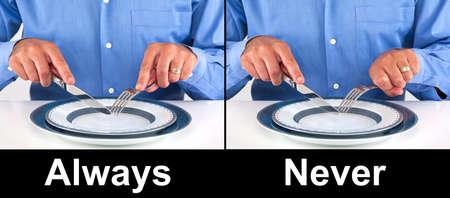 フォークとナイフの概念を保持する適切な方法