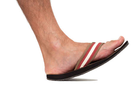 flat foot: Close up of foot in flip flop - left foot
