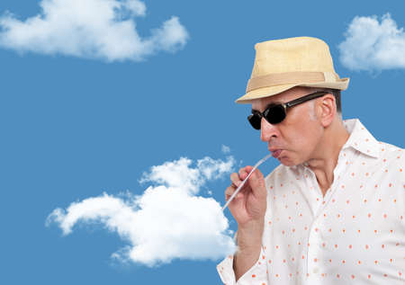 Man drinking from a cloud