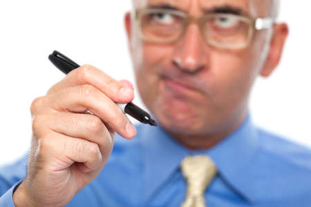 Business man with a black marker
