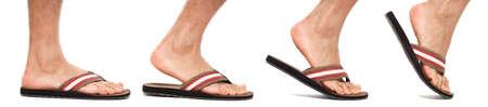 flip flops: Foot in flip flop walking sequence