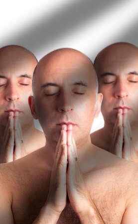 clones: Three clones or triplets meditating