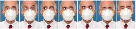 防護マスクを身に着けている男のシーケンス写真