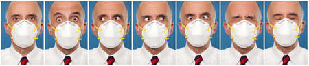 Sequence photos of a man wearing a protective mask