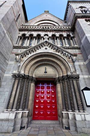 sinner: Church front with red door