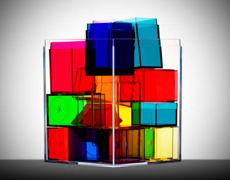 Colorful clear boxes back lit Stock Photo