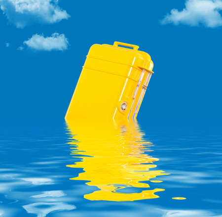 resistant: Water resistant case floating in the water