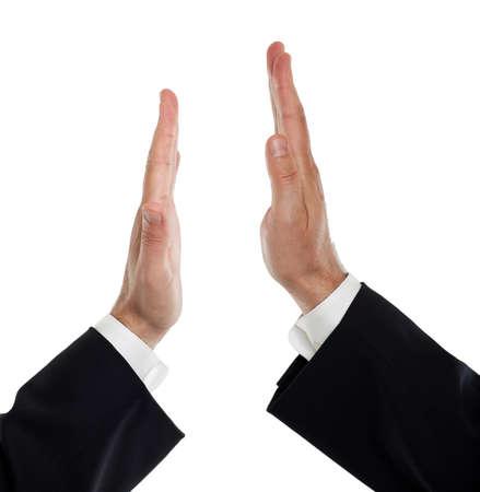 high: Business men doing a high five