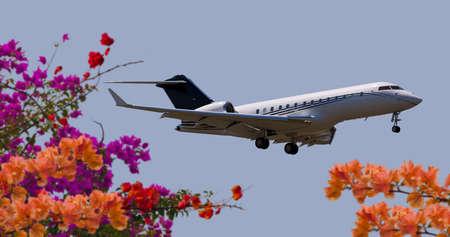 プライベート ジェット飛行の側面図 報道画像