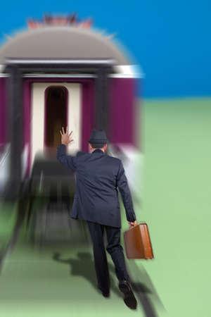 Man running after a train