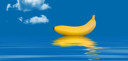 of pano: Banana floating on water