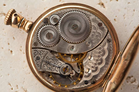 escapement: Gears and mainspring in the mechanism of a pocket watch