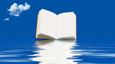 sublime: Book floating on the ocean
