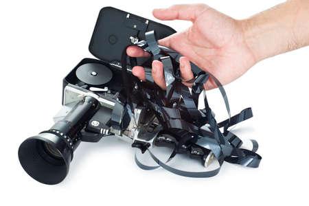 tangled: Camera film tangled Stock Photo