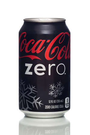 ounce: MIAMI, USA - JAN 19, 2015: Photo of a 12 ounce can of Coca-Cola Zero with a Christmas design. Coca-Cola is the one of the worlds favorite carbonated beverages.
