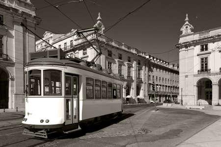 Classic electric tram in Portugal