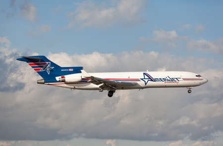 MIAMI, USA - April 29, 2015: Classic Boeing 727 cargo by Amerijet landing at Miami International Airport. Editorial