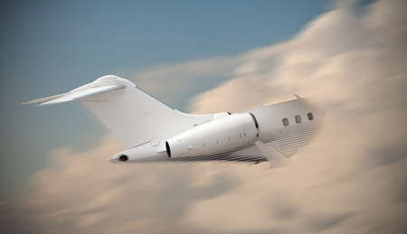 Airplane flying into the clouds