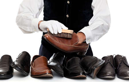 Man polishing leather shoes Stock Photo