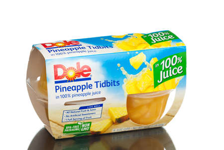 on the dole: MIAMI, USA - February 9, 2015: Dole Pineapple Tidbits in 100 Pineapple Juice, 4 oz, 4 count.