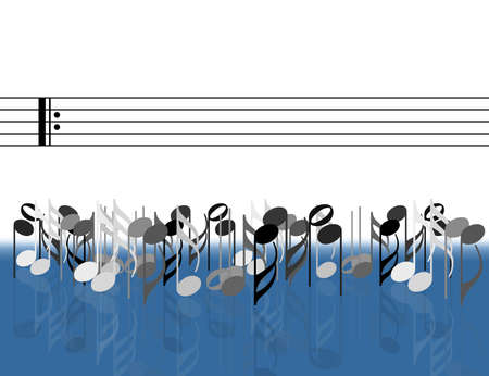 Musical notes in front of stave