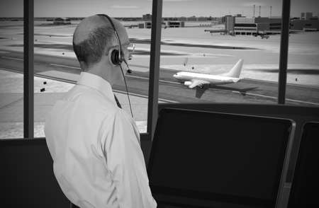 Air traffic controller at work Stock Photo