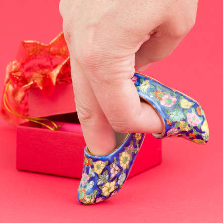 minature: Hand walking on porcelain shoes
